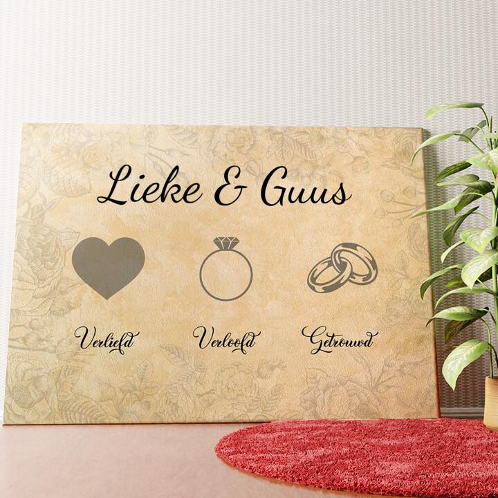 Gepersonaliseerde muurschildering Liefde verloofd getrouwd