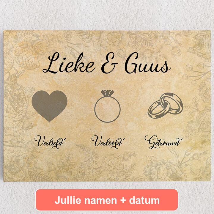 Gepersonaliseerde Canvas Liefde verloofd getrouwd