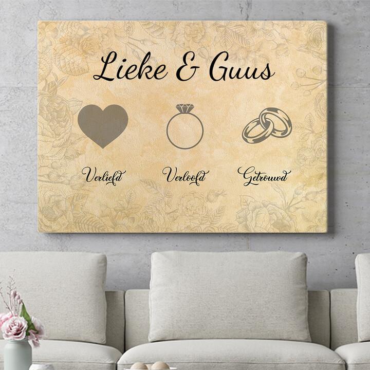 Personaliseerbaar cadeau Liefde verloofd getrouwd