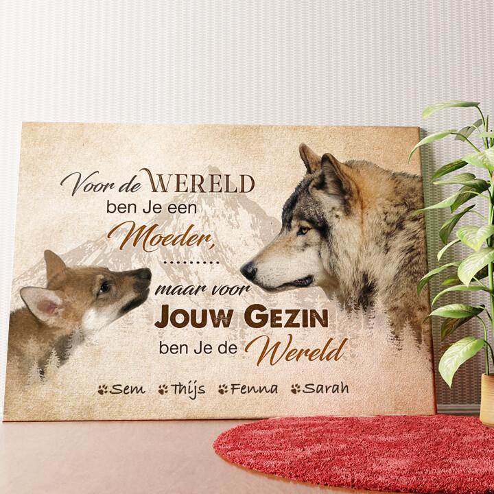Gepersonaliseerde muurschildering Wolfsmoeder