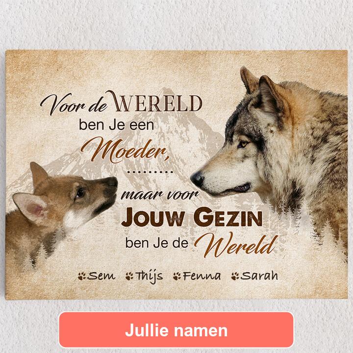 Gepersonaliseerde Canvas Wolfsmoeder