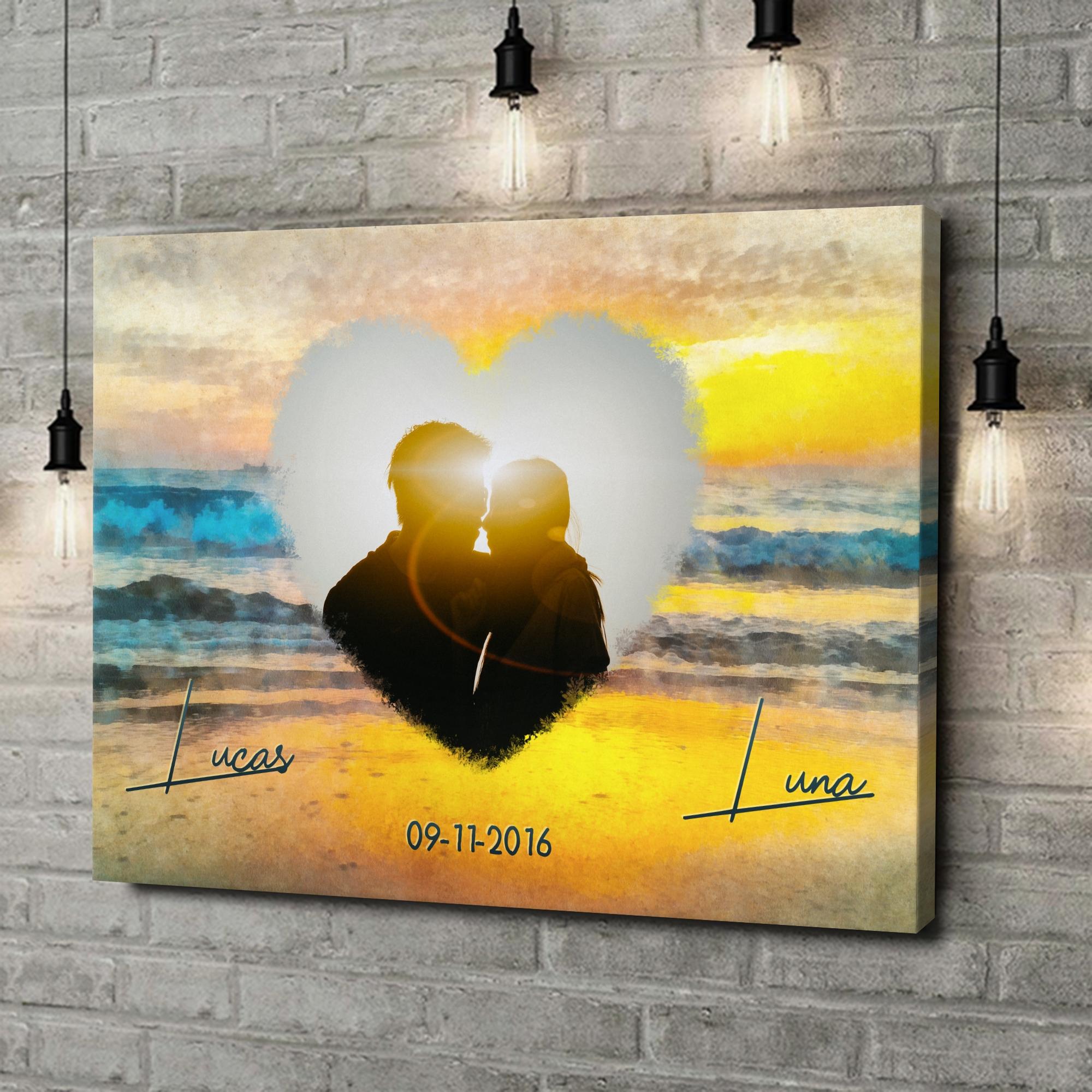 Gepersonaliseerde canvas print Romantische zonsondergang