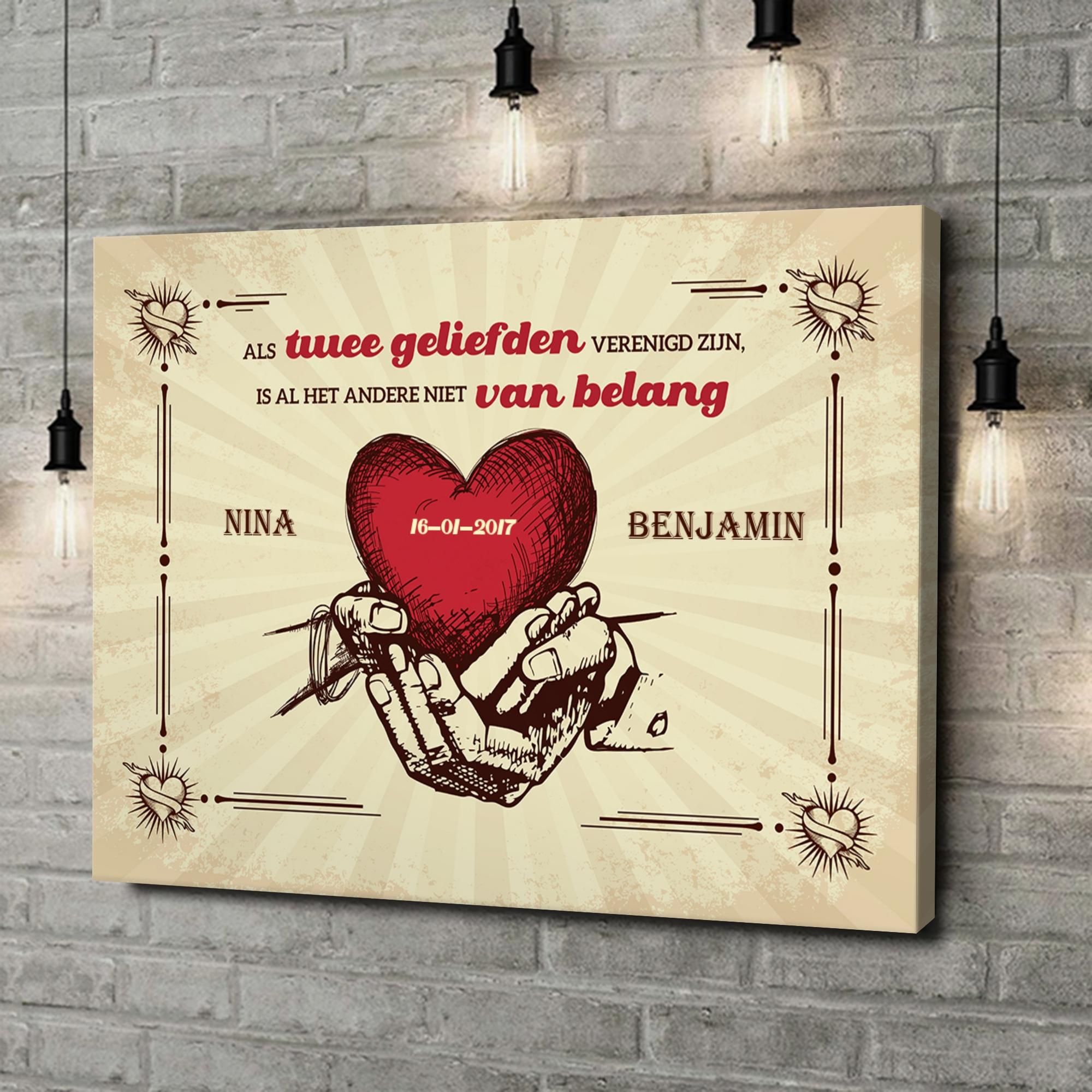 Gepersonaliseerde canvas print Handen van Liefde