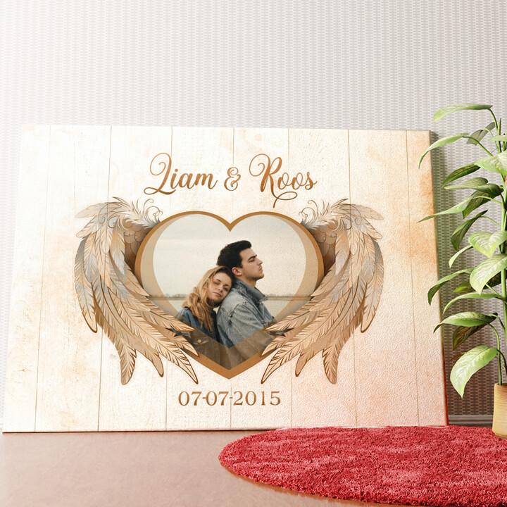 Gepersonaliseerde muurschildering Vleugels van liefde