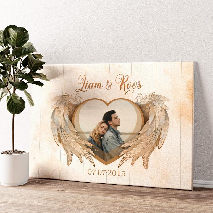 Vleugels van liefde Gepersonaliseerde muurschildering