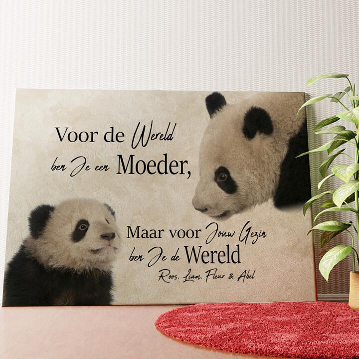 Gepersonaliseerde muurschildering Moeder Panda