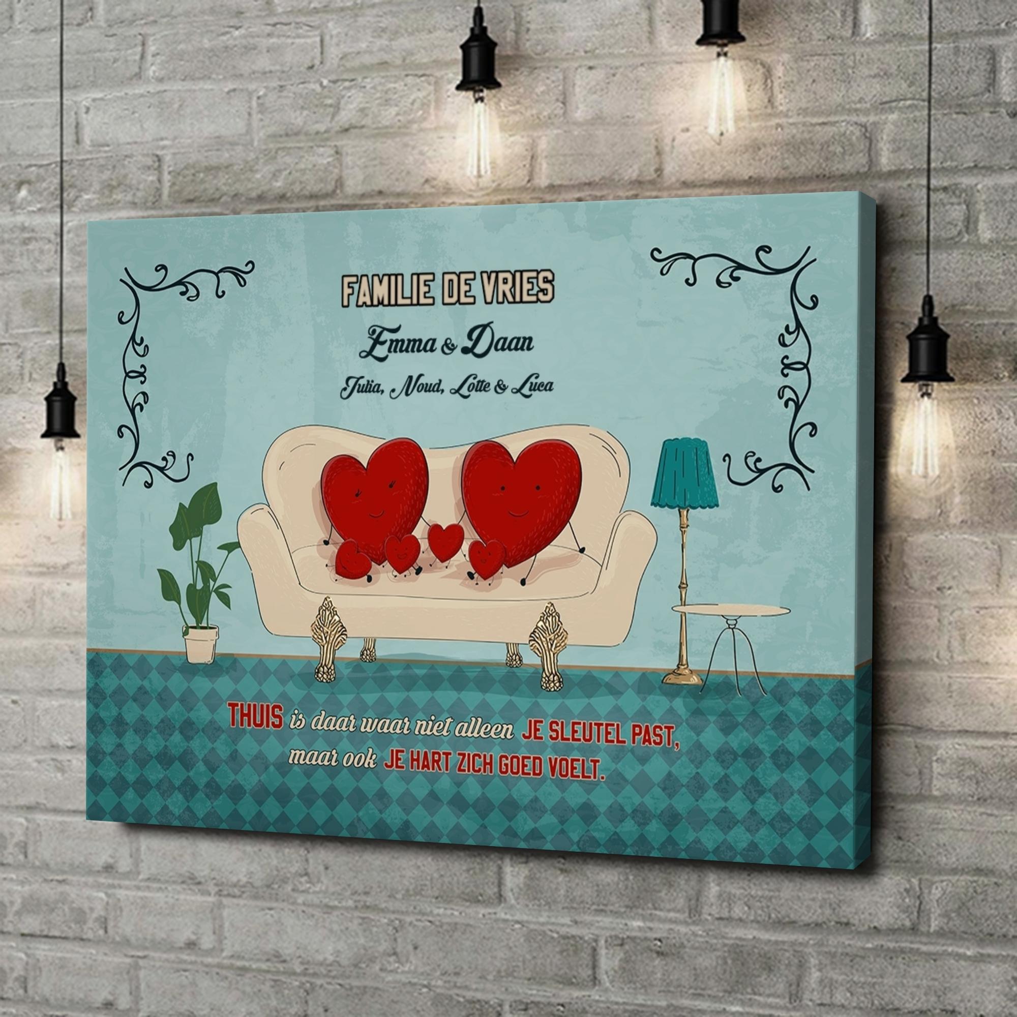 Gepersonaliseerde canvas print Een thuis met een hart
