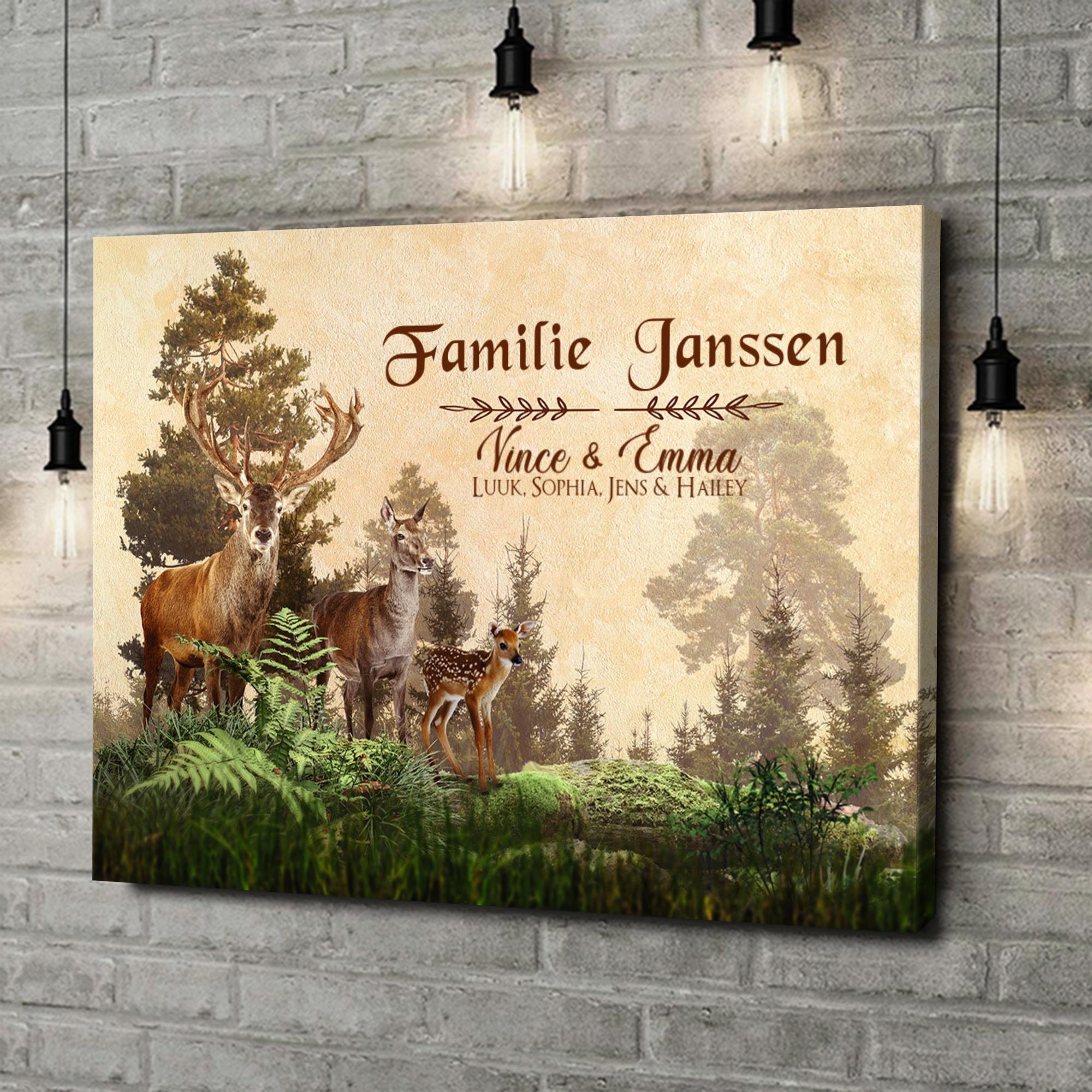 Gepersonaliseerde canvas print Herten familie
