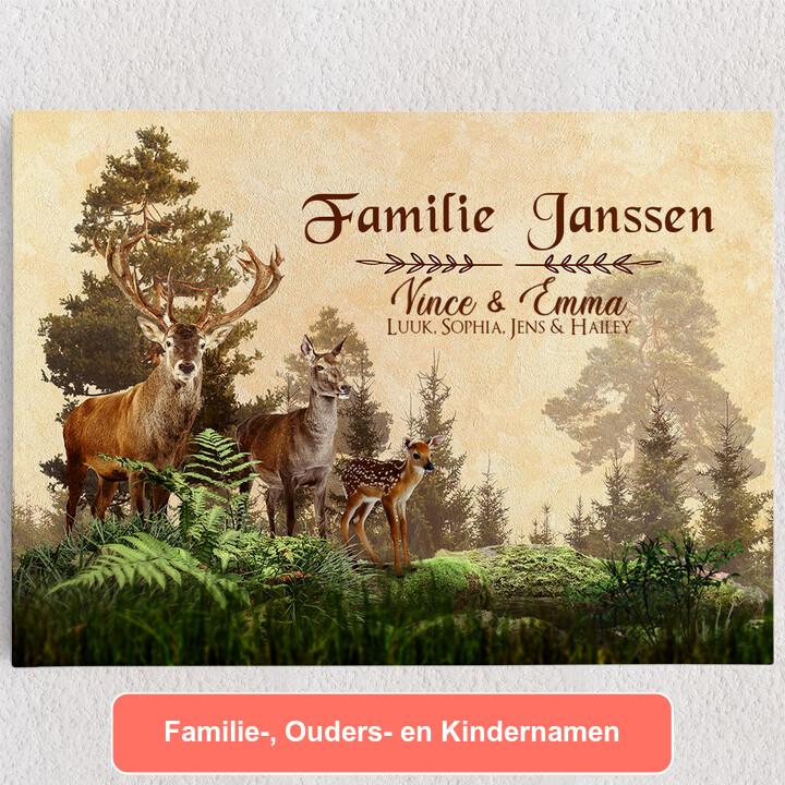 Gepersonaliseerde Canvas Herten familie