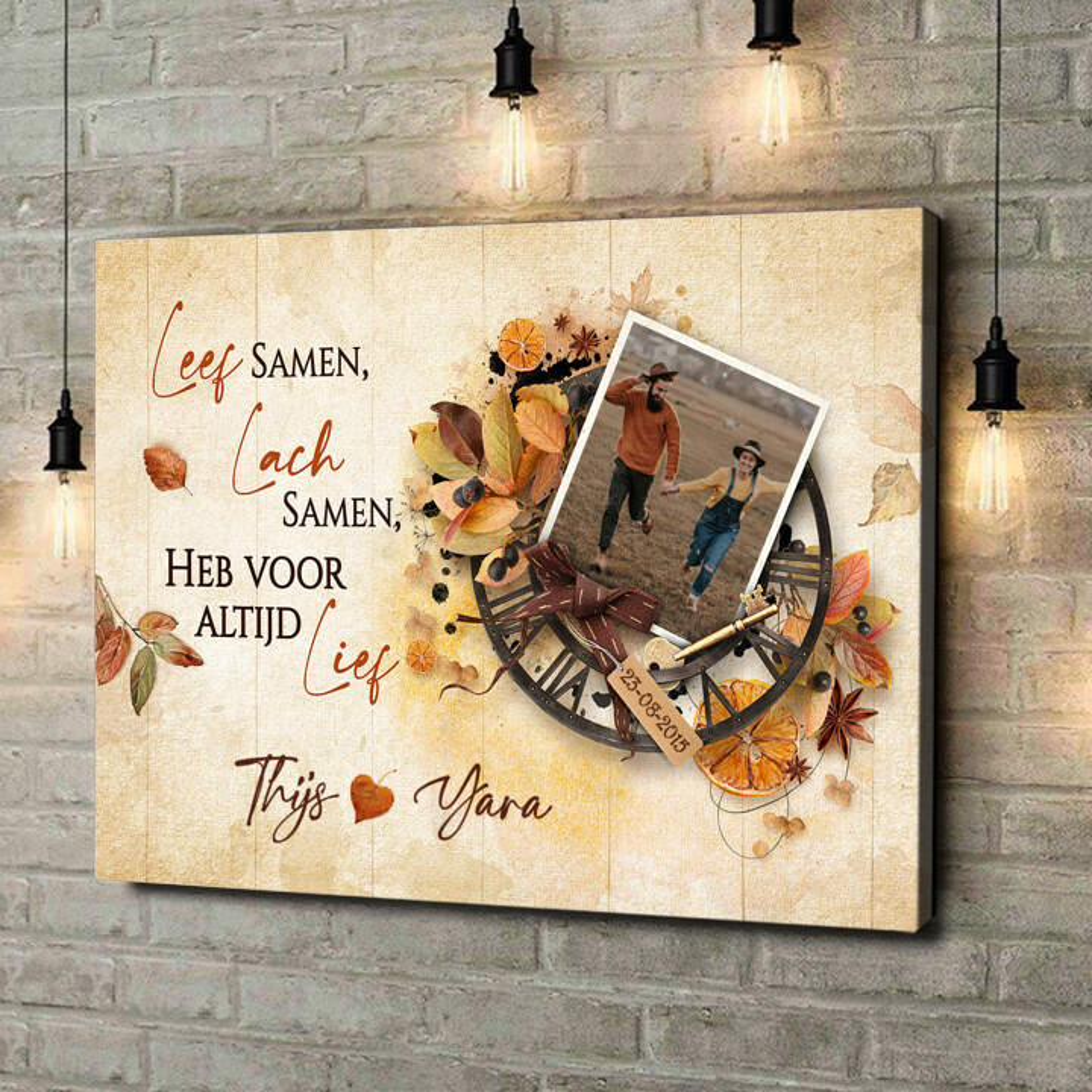 Gepersonaliseerde canvas print Leven, lachen, liefde