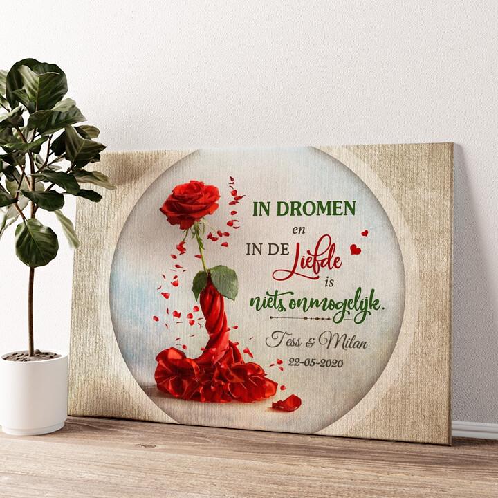 Roos voor twee Gepersonaliseerde muurschildering