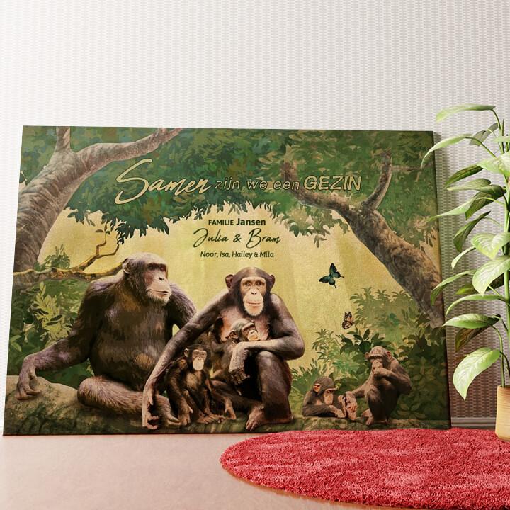 Gepersonaliseerde muurschildering Apenfamilie