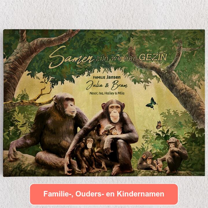 Gepersonaliseerde Canvas Apenfamilie
