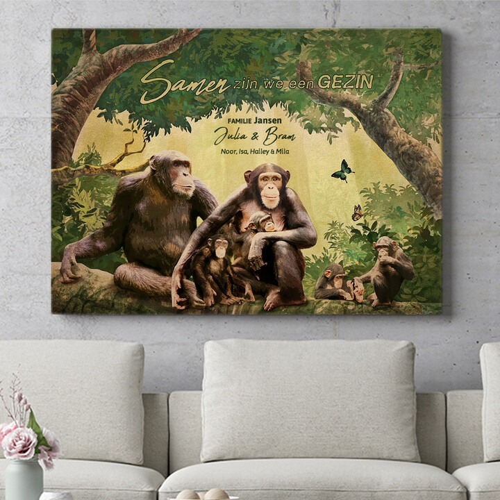 Personaliseerbaar cadeau Apenfamilie
