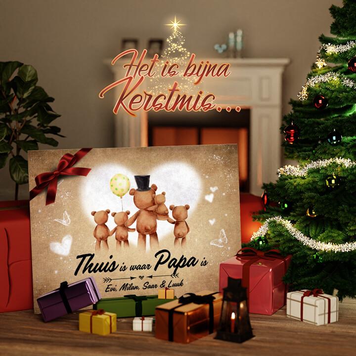 Canvas Cadeau Teddyberen vader