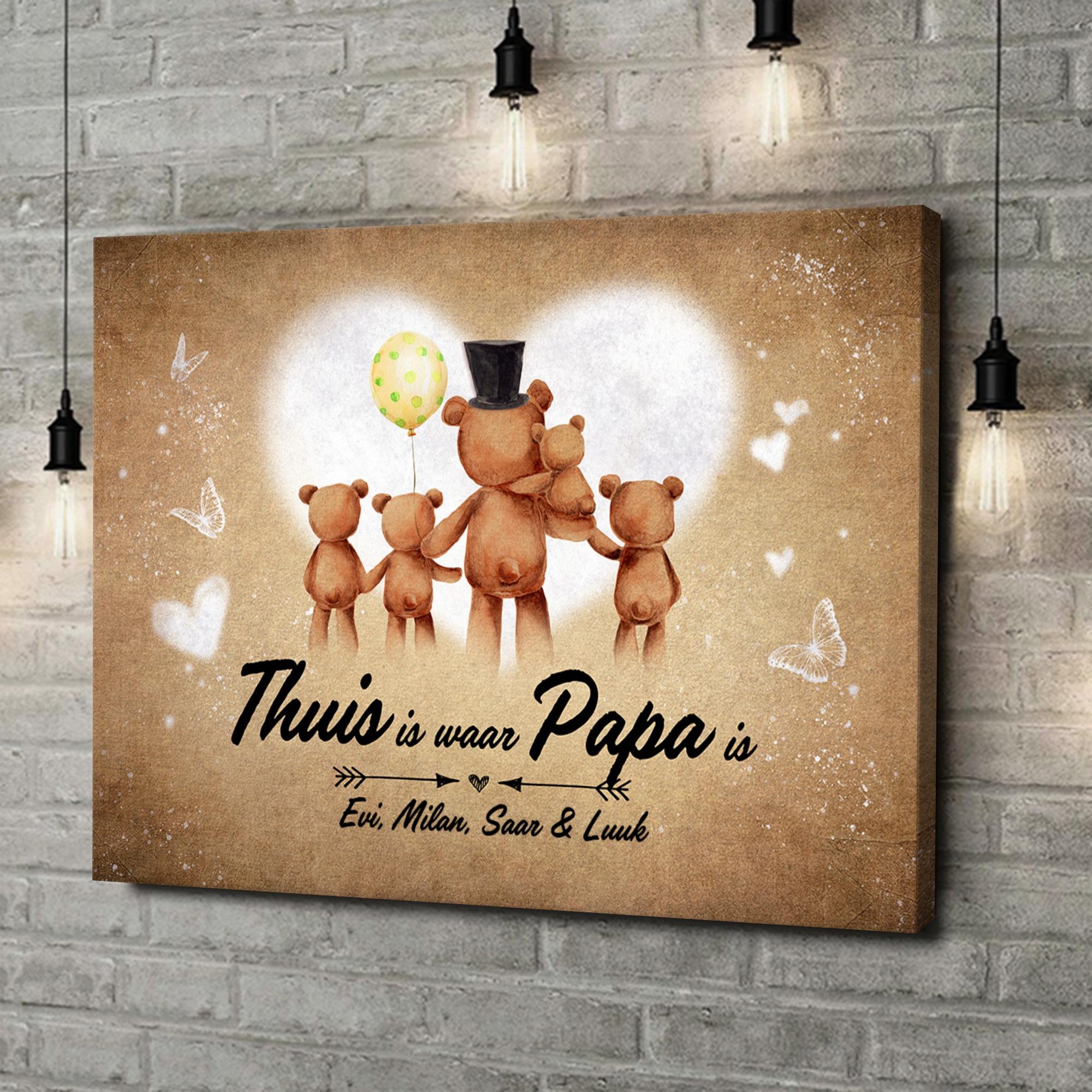 Gepersonaliseerde canvas print Teddyberen vader