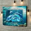 Gepersonaliseerde canvas print Familie dolfijn