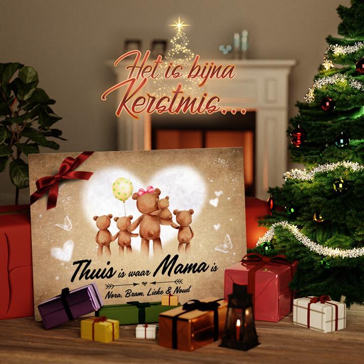 Canvas Cadeau Teddyberen Moeder