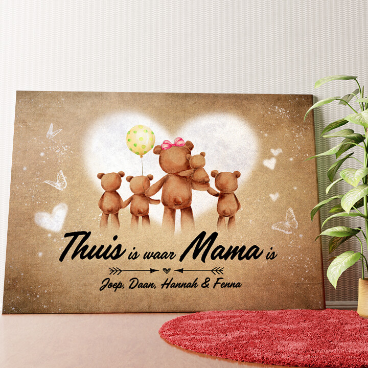 Gepersonaliseerde muurschildering Teddyberen Moeder