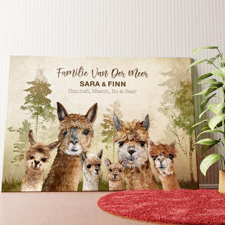 Gepersonaliseerde muurschildering Alpaca Familie