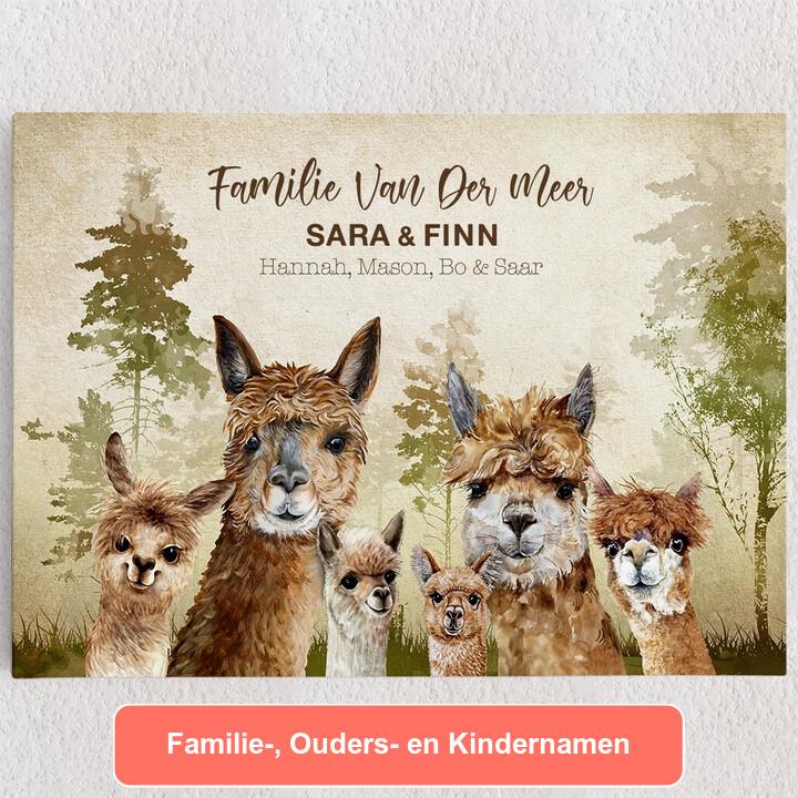 Gepersonaliseerde Canvas Alpaca Familie