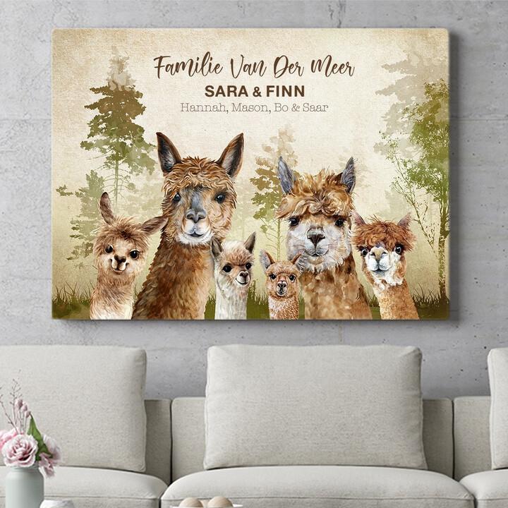 Personaliseerbaar cadeau Alpaca Familie
