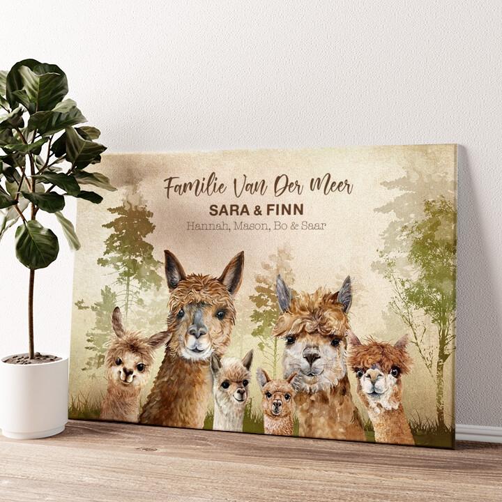 Alpaca Familie Gepersonaliseerde muurschildering