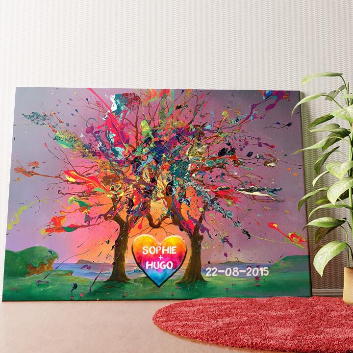 Gepersonaliseerde muurschildering Kleurrijke liefde