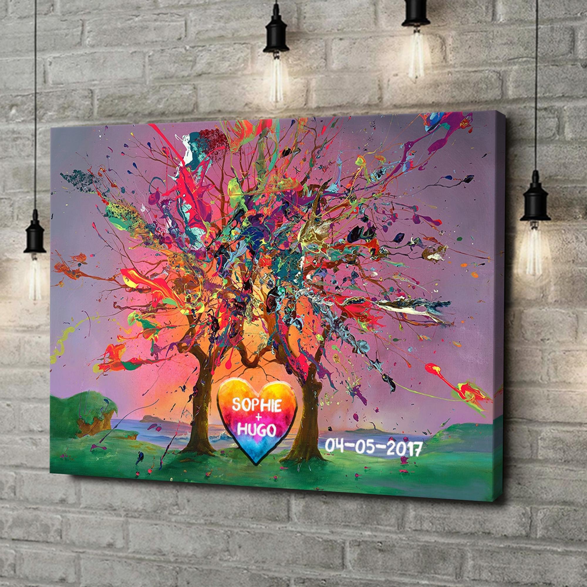 Gepersonaliseerde canvas print Kleurrijke liefde