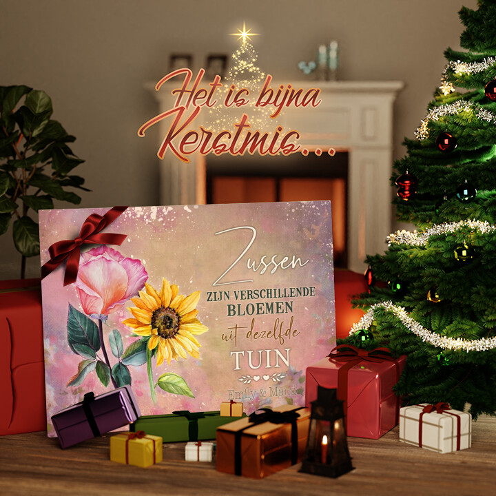 Canvas Cadeau Bloemenzusjes