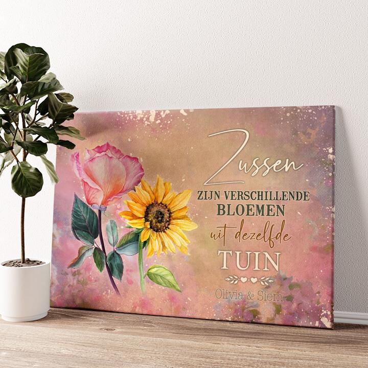Bloemenzusjes Gepersonaliseerde muurschildering
