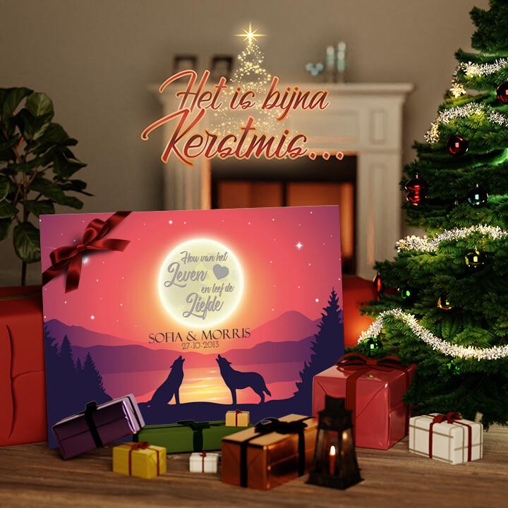 Canvas Cadeau Liefde in het maanlicht