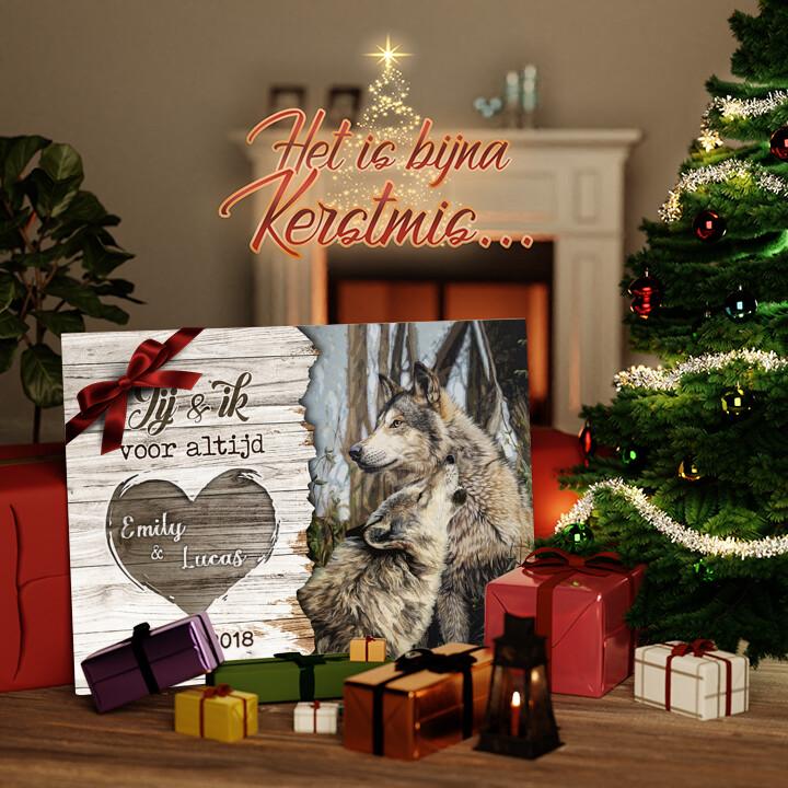 Canvas Cadeau Wolvenpaar