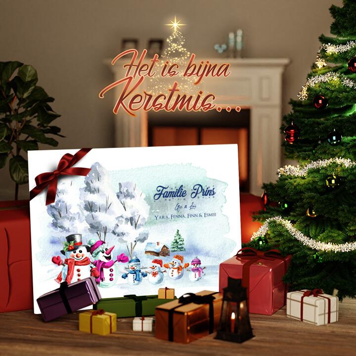 Canvas Cadeau Sneeuwpop familie