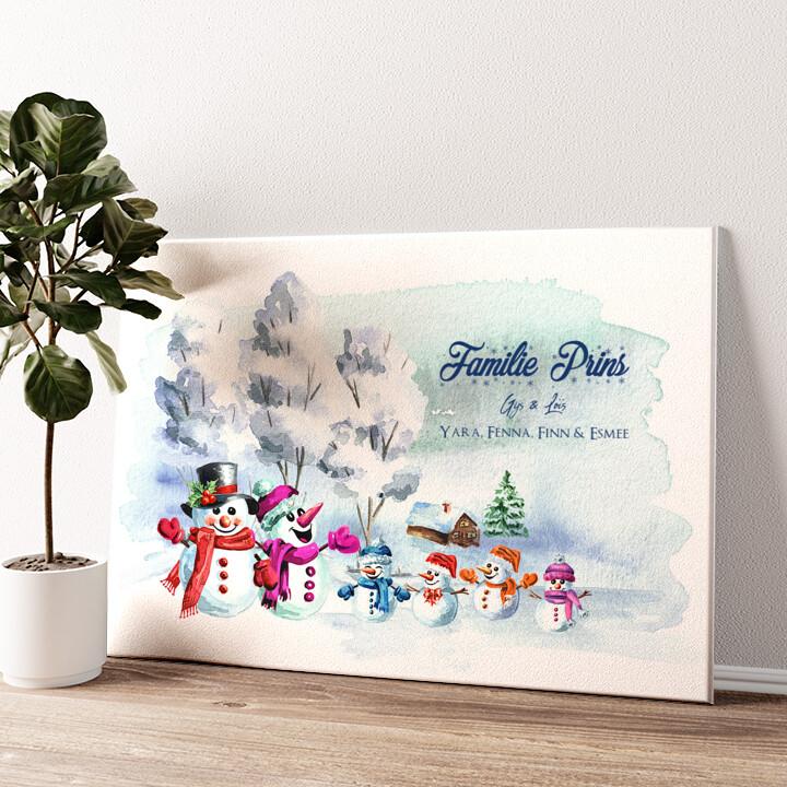 Sneeuwpop familie Gepersonaliseerde muurschildering