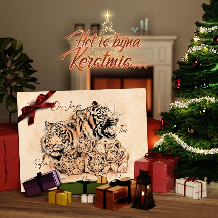 Canvas Cadeau Tijgerfamilie
