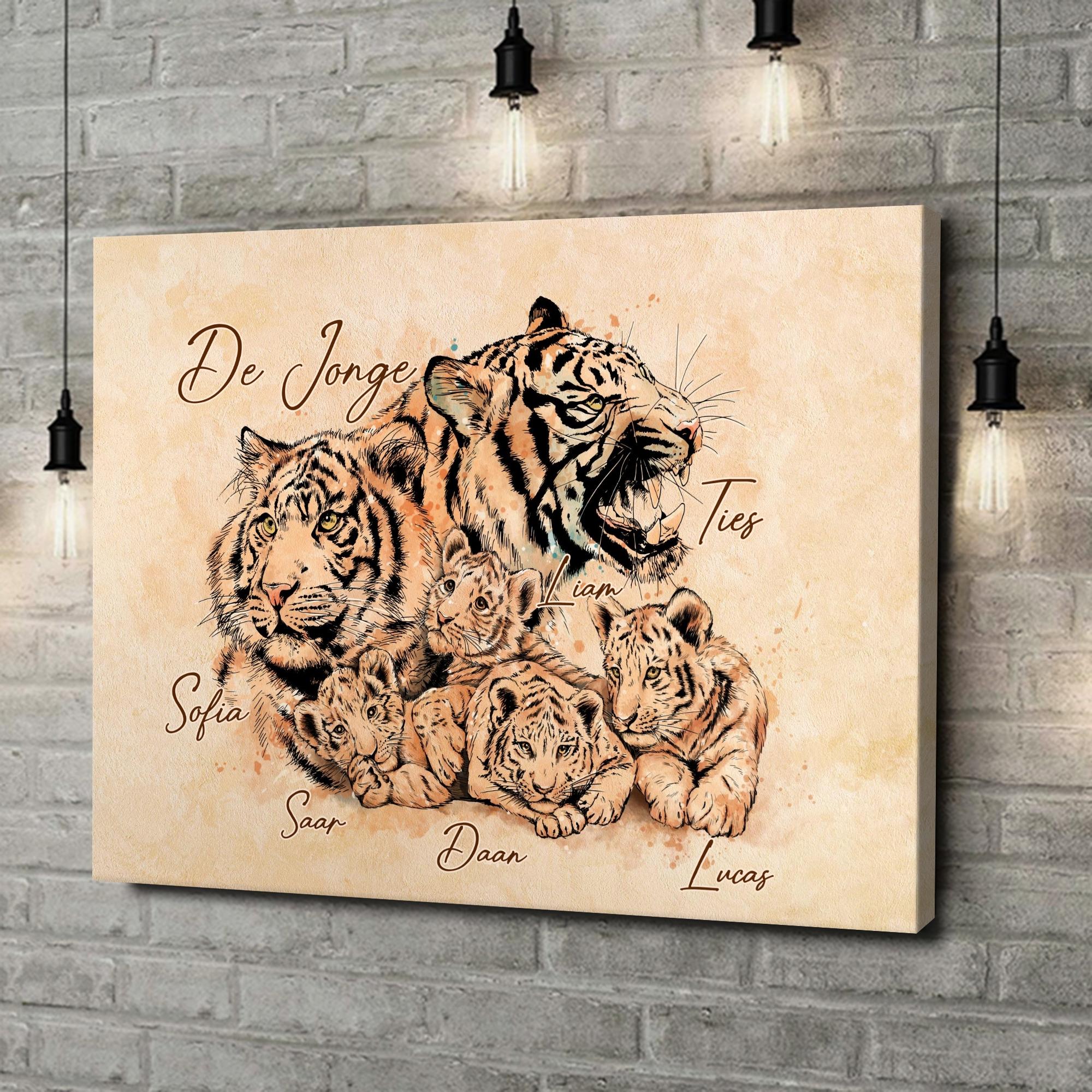 Gepersonaliseerde canvas print Tijgerfamilie