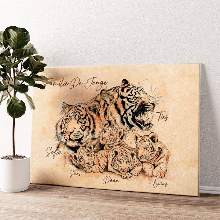 Tijgerfamilie Gepersonaliseerde muurschildering