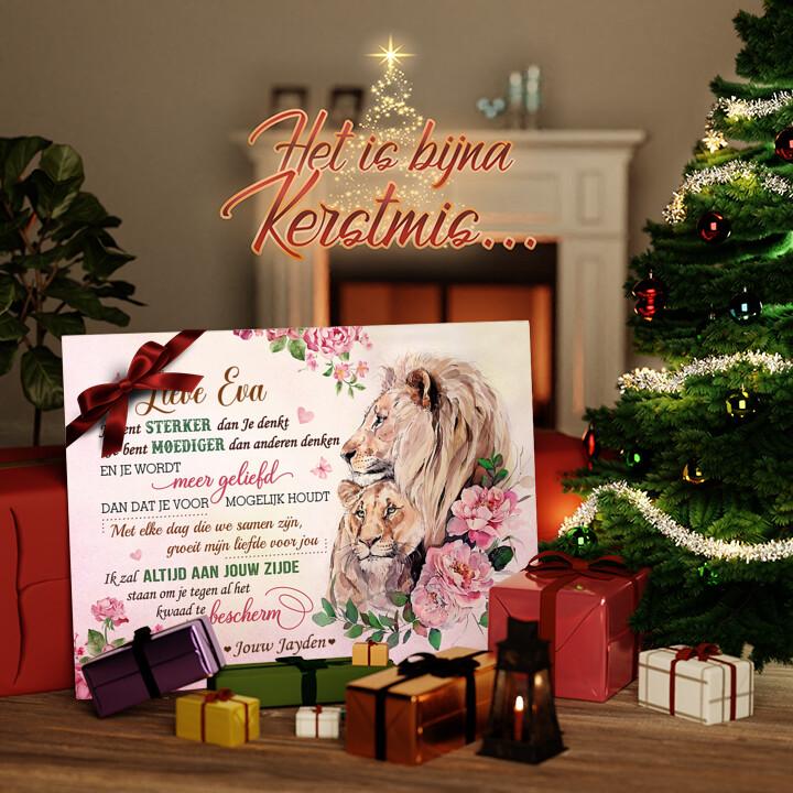 Canvas Cadeau Kracht, Moed & Liefde