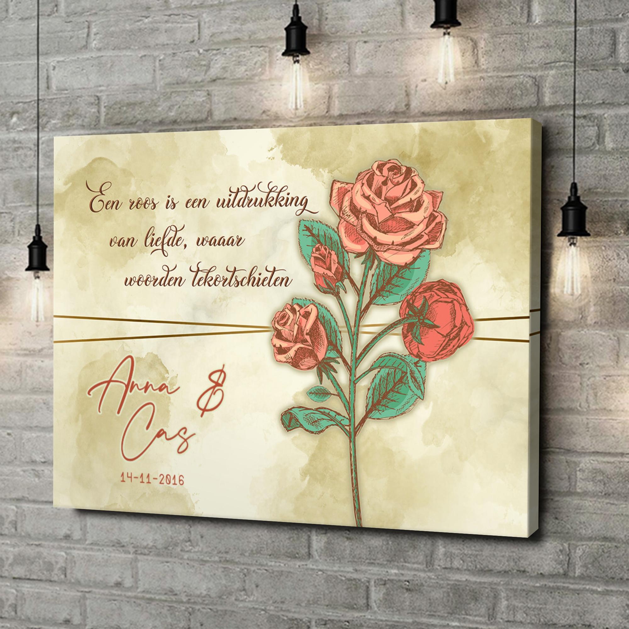 Gepersonaliseerde canvas print Liefdesroos