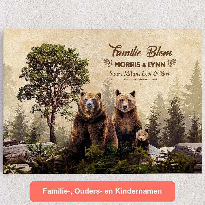 Gepersonaliseerde Canvas Berenfamilie