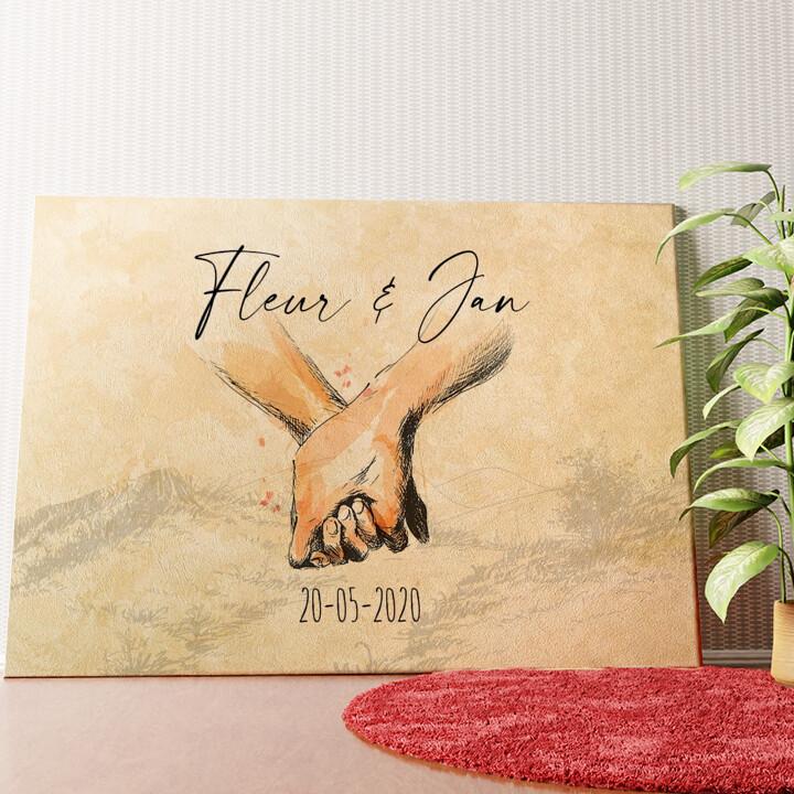 Gepersonaliseerde muurschildering Hand in Hand