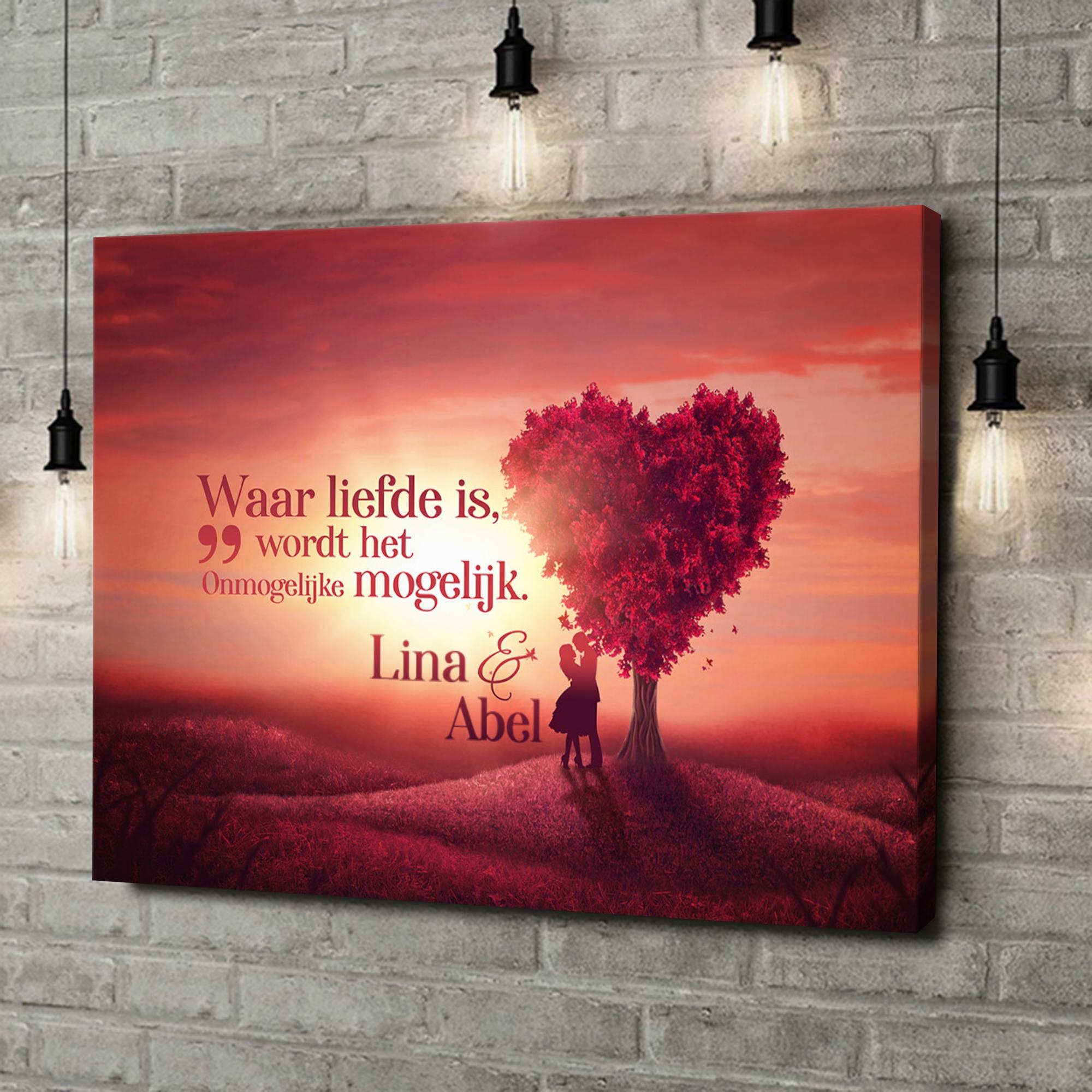 Gepersonaliseerde canvas print Liefdesboom