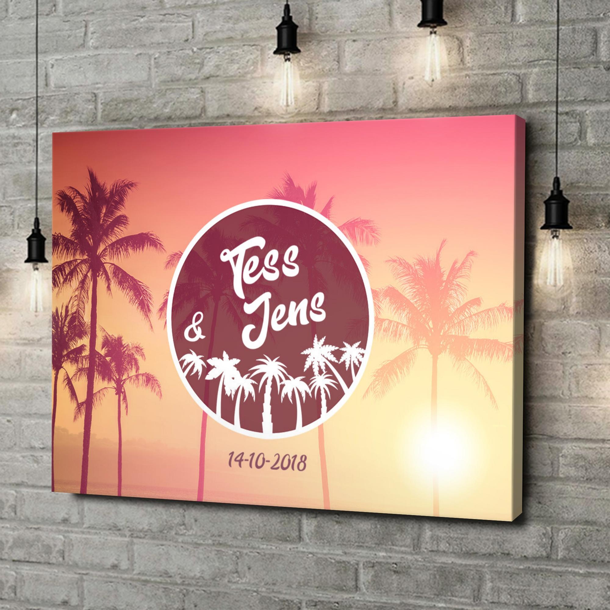 Gepersonaliseerde canvas print Liefde onder de Palmen