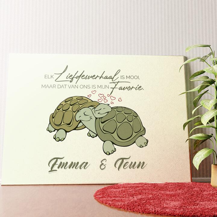 Gepersonaliseerde muurschildering Schildpaddenliefde