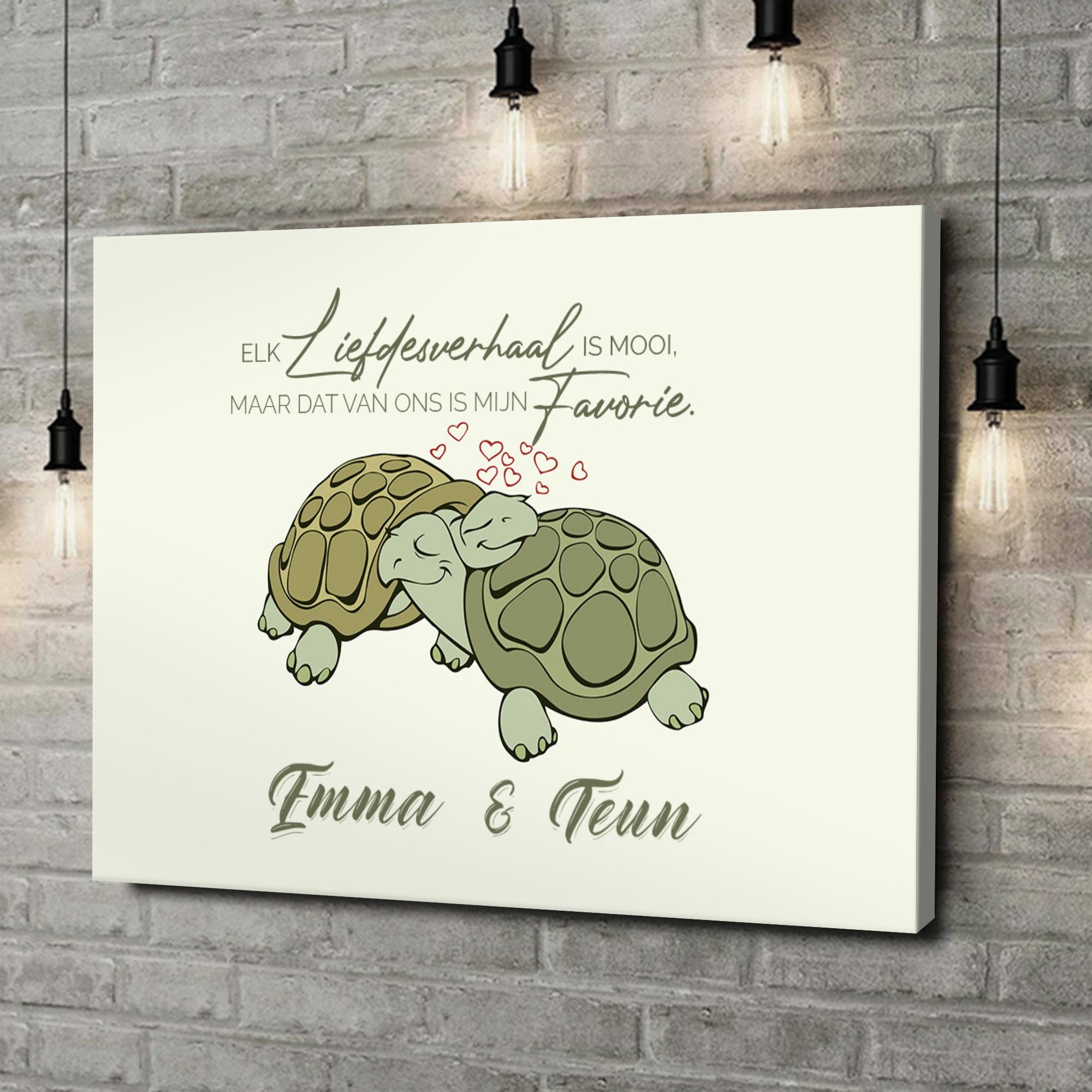 Gepersonaliseerde canvas print Schildpaddenliefde
