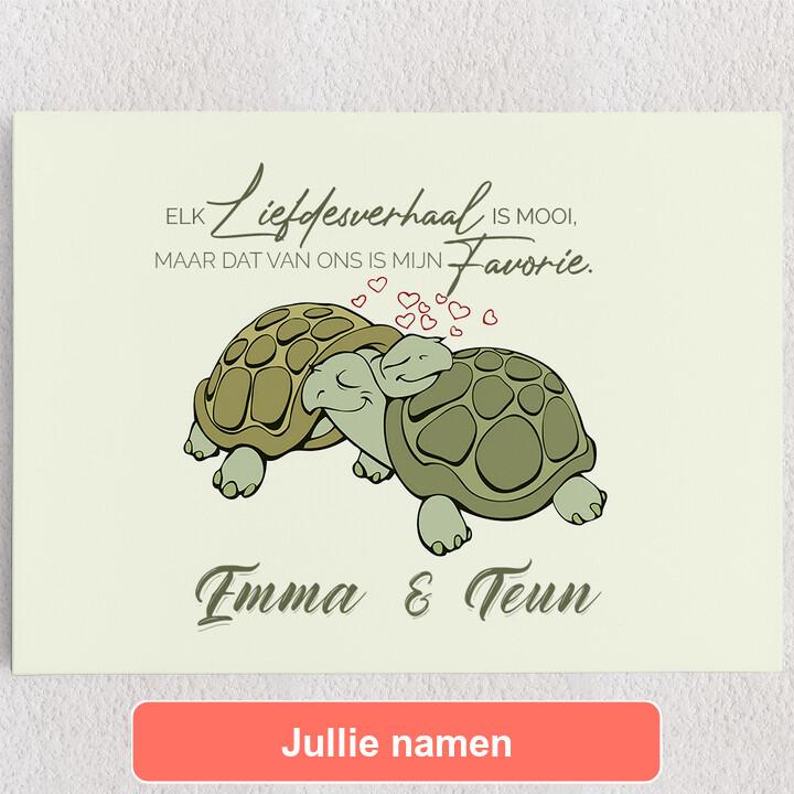Gepersonaliseerde Canvas Schildpaddenliefde
