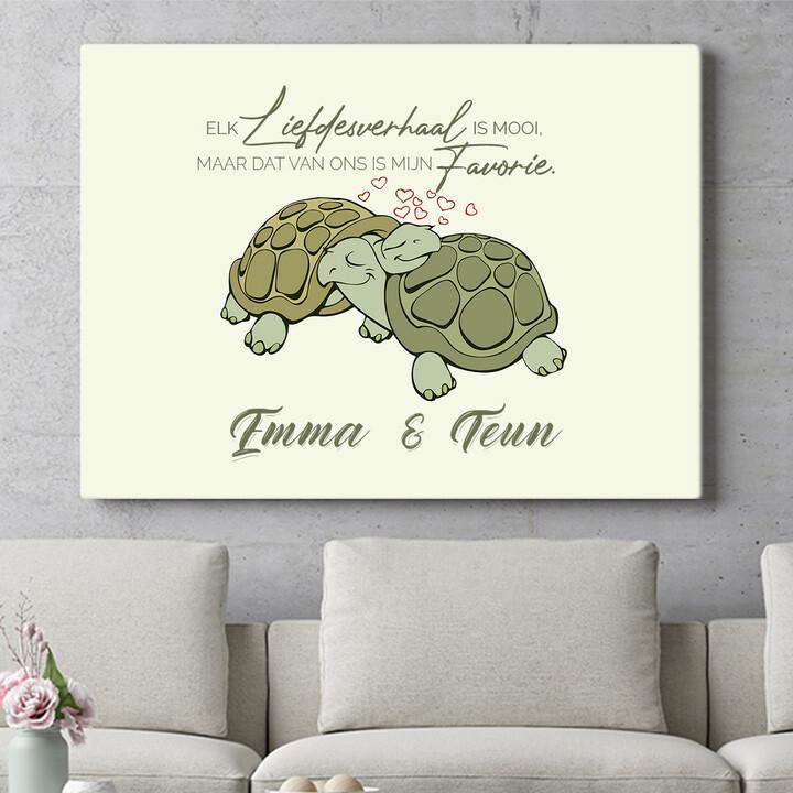 Personaliseerbaar cadeau Schildpaddenliefde