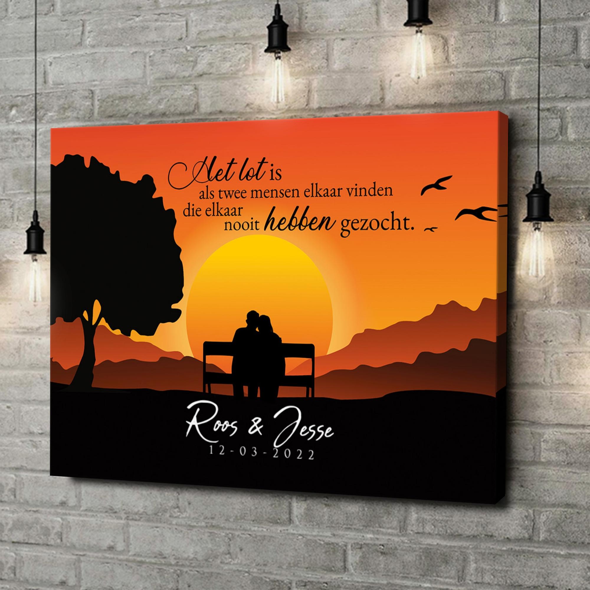 Gepersonaliseerde canvas print Bankje bij Zonsondergang