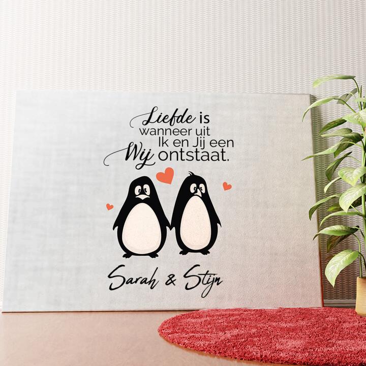 Gepersonaliseerde muurschildering Stel Pinguins